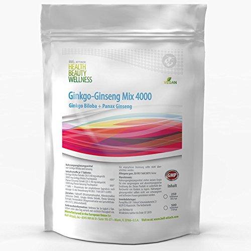 Ginkgo Biloba Ginseng Mix 3000mg + 1000mg | 250 Tabletten (vegan) | Koreanischer Ginseng | Konzentration + Potenz + Sex + Vitalität | Premium Qualität zum Fairen Preis