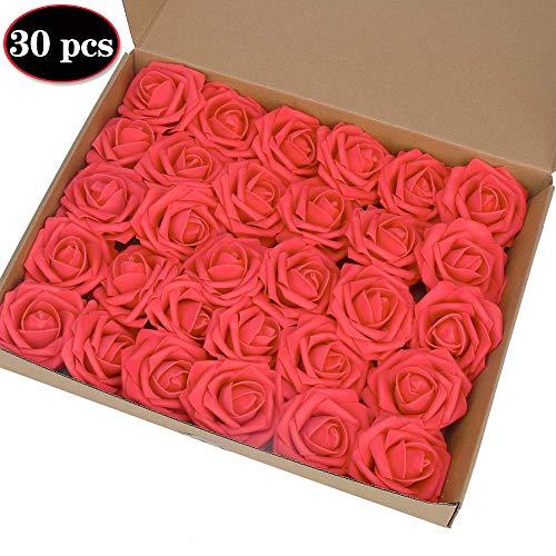 AMZANDY NEW Künstliche Blumen Rosen echt Touch Simulation Touch Schaumstoff Künstliche Rosen für DIY Hochzeit Bouquets Brautjungfer Brautsträuße Tischdekoration Baby Dusche Home Decor (Rot, 30 Stück)