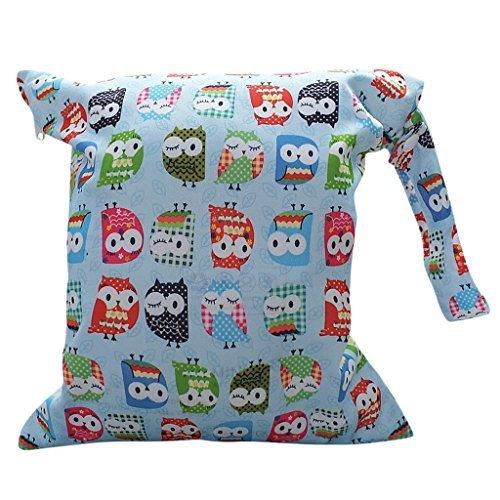 Baby Kleinkind Wasserdichtem Reißverschluss wiederverwendbare Tuch Wickeltasche (bunt Eule Muster hellblau)