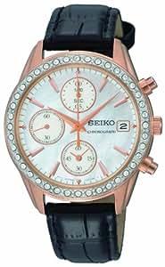Seiko - SNDY14P9 - Montre Femme - Quartz Chronographe - Cadran Nacre - Bracelet Cuir Noir