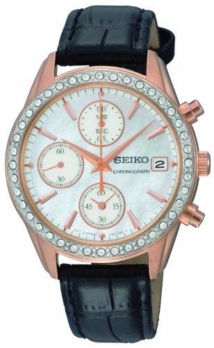 seiko-sndy14p9-damen-armbanduhr-chronograph-quarz-schwarz-lederband-perlmutt-zifferblatt