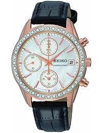 Seiko SNDY14P9Damen-Armbanduhr Chronograph Quarz Schwarz Lederband Perlmutt Zifferblatt