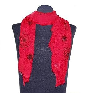 Rotes Damentuch Bettina, ca. 90 x 180 cm, Schaltuch mit schwarzem Blumendruck Pusteblume, schickes Damen Halstuch