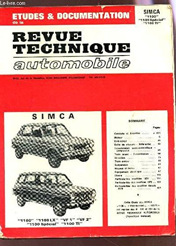 ETUDES & DOCUMENTATION de la REVUE TECHNIQUE AUTOMOBILE / SIMCA