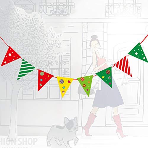 Weihnachtsgirlanden Hängendes Fahnentuch, Frohe Weihnachten Buchstaben Elchbaumfahne Weiße Schneeflocken Hängende Sterne Schnur, Weihnachtsfeier Dekorationen Zubehör Hängende Ornamente (Schneeflocke Schnur Dekorationen)