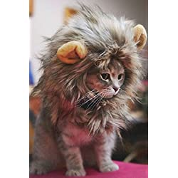 Kicode Disfraz de mascota peludo Lion Mane peluca Para gatos mascotas Disfraces con orejas Festival Party Home