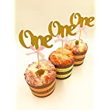 Babycola's Mum First Birthday Party Cupcake Topper,One Glitter Gold Cupcake Topper,One Cupcake Toppers With Baby...