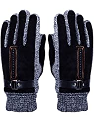 Men's Winter Leather Gloves - WITERY Thick Warm Fleece Windproof Gloves Cold Proof Thermal Mittens - Ideal for Dress Driving Cycling Motorcycle Camping etc