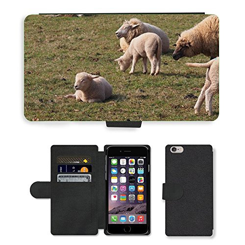 Just Mobile pour Hot Style Téléphone portable étui portefeuille en cuir PU avec fente pour carte//m00138703Agneau Mouton Agneau de Pâques Animal laine//Apple iPhone 6Plus 14cm