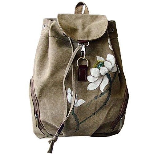 GESIMEI Handbemalte Rucksack Vintage Freizeit Schultasche Ethno Canvas Daypack Mädchen Damen Khaki (Symbol Rucksack Computer)