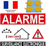 """Panneau de dissuasion """"alarme surveillance électronique"""" 160x100mm (pastilles double face offerte)"""