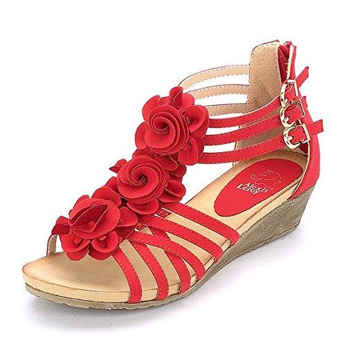 Alexis Leroy flores - Sandalias de Gladiador cuña Pequeña con tacón medio Mujer Rojo 37 EU / 4 UK