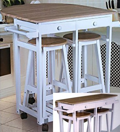 Rollbare kitchen bar with folding table and two stools - Sofas de cocina ...