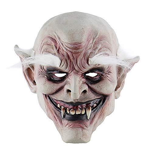 Lixinfushi 2018 New Adult Kostüm Maske Weiß-Browed Old Demon Halloween Horror Teufel Maske Vampire Haunted House Evil Killer (Demon Killer Kostüm)