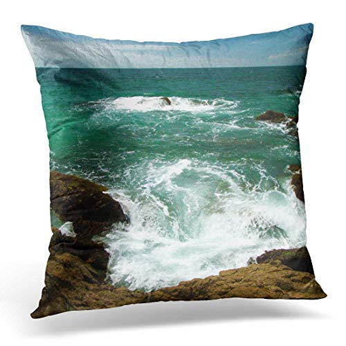 Cupsbags Throw Pillow Cover Ocean Mexican Pacific Surge No Text Waves Decorative Pillow Case Home Decor Square 18x18 Inches Pillowcase - Pacific Black Duck