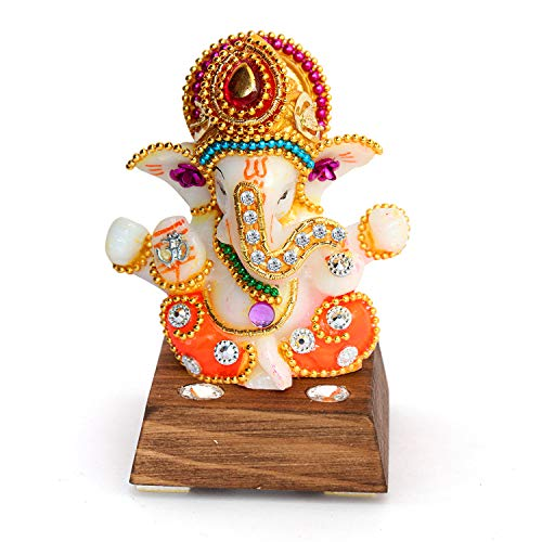 UniqueArt White Stone God Ganesha Car Dashboard Decor Statue | Hindu Idol God Ganesh Ganpati Decor Sculpture | Decorative Gift 51Ij msIQ7L