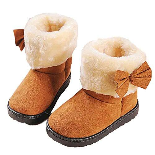 Abstand Heligen Mode Bowknot Winter Baby Mädchen Stil Baumwolle Boot Warme Schneeschuhe Kleinkind Schuhe Kinderschuhe Weiche Bodenschuhe (Schuhe Abstand Mädchen)