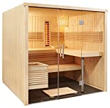 Well Solutions® Element Sauna Kabine Panorama All in mit Infrarot