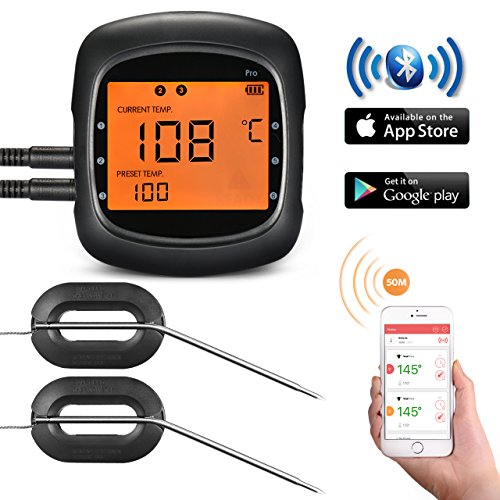 Grillthermometer, TOPELEK Bluetooth Fleischthermometer Steak Thermometer Großes Display mit Hintergrundbeleuchtung, Sofortiges Auslesen, Magnetisches Montagedesign, 2 Sonden enthalten Thermometer für Küche, Grill, Essen, Steak.