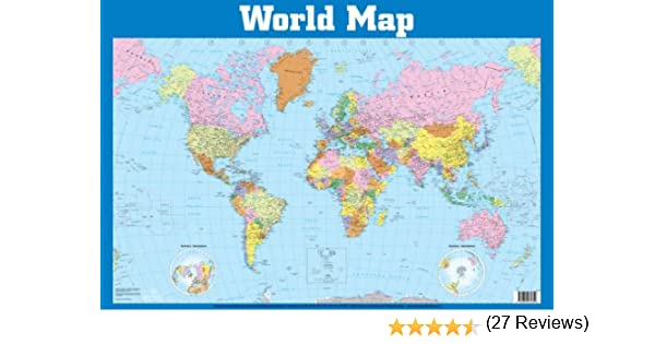 World map wall chart wall charts amazon 9781859972359 books gumiabroncs Images