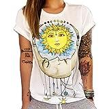 Ularma Damen Sommer Baumwolle T-Shirt Schöne Sonne Kurzarm Bluse (38, Sonne)