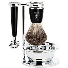 Mühle set de afeitado de 4x piezas Serie Rytmo, maquinilla de afeitar, cerdas puras de cerdo, mango elegante de resina color negro