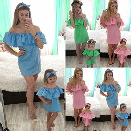 Vovotrade Familie Mommy und ich Frauen Sommer PolyesterOff Schulter Slash Neck Sommer Mini Kleid Grün