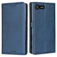 DENDICO Case for SONY Xperia X Compact, Classic Leather Wallet Case Flip Notebook Style Cover with Magnetic Closure, Card Holders, Stand Feature - Blue