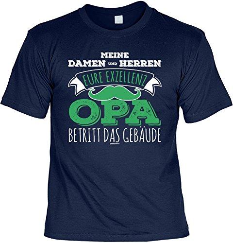 T-Shirt für Opa: Meine Damen und Herren, eure Exzellenz Opa betritt das Gebäude - Geschenk, Geburtstag - navyblau Navyblau