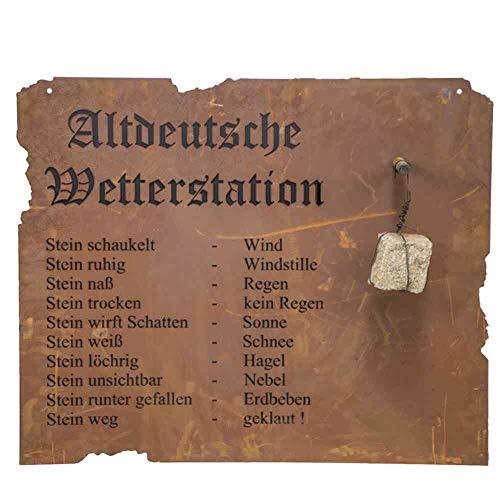 Altdeutsche Wetterstation Metall m.Edelrost hängend