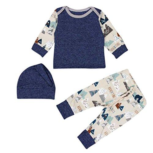 Bekleidung Longra 1SET neugeborenes Baby jungen Mädchen drucken T Shirt Tops Hosen Hute 3PCS Outfits Kleidung Weihnachten Bekleidungset (0-18 Monate) (70CM 3Monate)