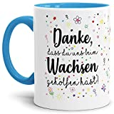 Tassendruck Erzieher-Tasse mit Spruch Danke, DASS du Uns beim Wachsen geholfen hast -...