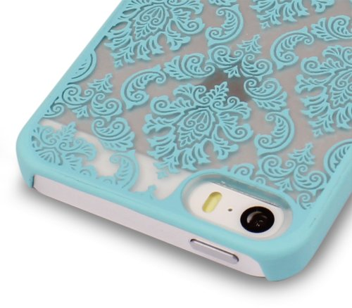 GreatShield TACT Pattern Coque arrière en caoutchouc rigide pour iPhone 5/5s Motif rétro Damask Design (Teal)