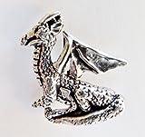 Gartendrache sitzend klein Zinn-Abzeichen-von Hand hergestellt in Cornwall, UK