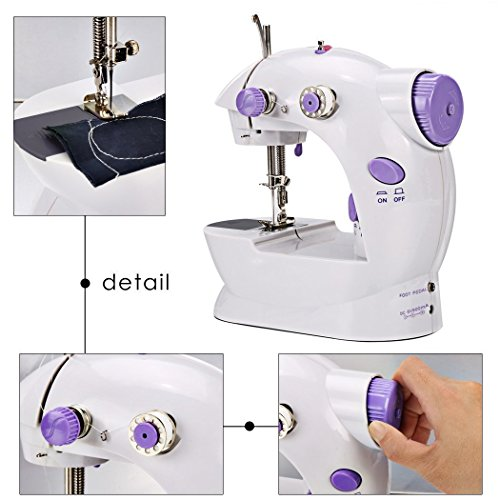 Sewing Machine, TopDiscover Portable Mini Nähmaschinen 2-Speed with Light + 4 Bobbins - 4