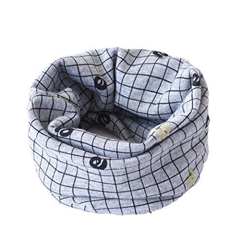 HKFV Herbst Winter Jungen Mädchen Baby Niedlich Kragen Schal O-Ring Traum Verpackungs Halstücher Schal Baumwolle O-Ring Hals Schals (Anzug für 0 bis 3 Jahre alt) (grau kariert) (Lycra-o-ring)
