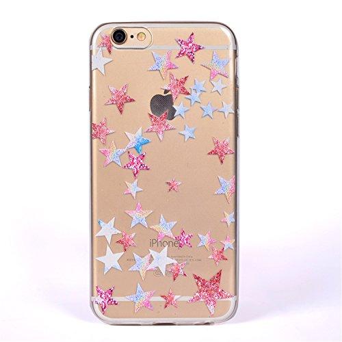 iPhone 6 Crystal Case Durchsichtig TPU bunte Sterne Hülle – Case Optik Schutzhülle Abstrakt Transparent Muster Design – MOVOJA – Sterne-bunt Sterne