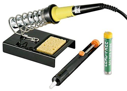 Fixpoint 51213 Bleifreies Lötset Lötkolben, Lötkolbenständer, Entlötpumpe und Lötzinnspule, 30 W, 4-teilig