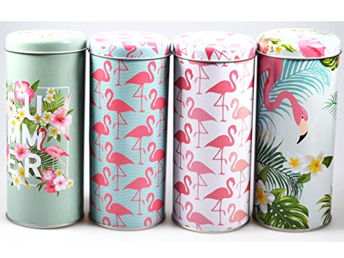 Bada Bing 4er Set Metalldose Kaffeedose Vorratsdose Flamingo Rund Mint pink weiß Kaffee Tee Zucker...