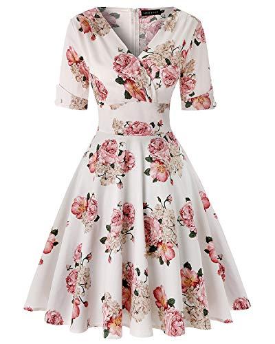 MINTLIMIT Damen Classy Vintage Floral Hepburn Stil 1940's Rockabilly Abendkleid (Floral Weiß,Größe M) -