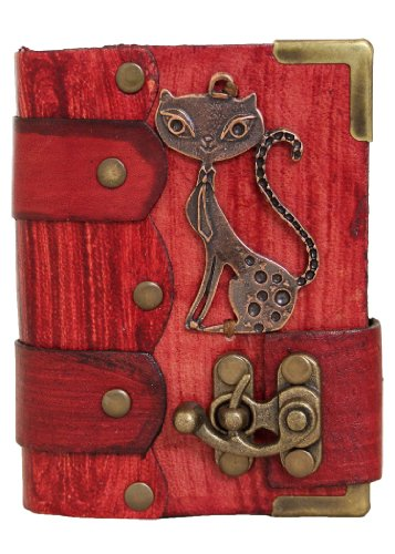 handmade-cat-pendant-on-a-red-leather-journal-with-lock-diary-sketchbook-leatherbound-