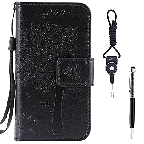 Samsung Galaxy Xcover 3 Case, SsHhUu Premium PU Leather Folio Wallet Magnetic Stand Card Slot Flip Protective Slim Cover Case + Stylus Pen + Lanyard for Samsung Galaxy Xcover 3 G388F (4.5