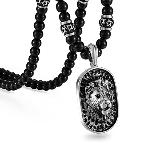 Collar para hombre de Cupimatch con colgante, diseño de león, cadena de color negro, de acero inoxidable, estilo gótico, cadena de bolas de 66 cm
