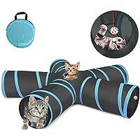 لعبة النفق للقطط من توبيبي® في 5 اتجاهات، أنبوب لعب قابل للطي للحيوانات الأليفة مع حقيبة تخزين للقطط والجراء والأرانب وخنزير غينيا، للاستخدام في الأماكن المغلقة والمفتوحة.