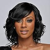 SHKY Fashion Short Curly Black Wigs - Perruques naturelles, mondantes et à la mode pour les femmes Perruque quotidienne Perruque de haute qualité , a