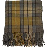 I Luv LTD Highland Scottish Wool Rug Blanket Throw Buchanan Natural Tartan 69 x 62 (175cm x 157 cm)