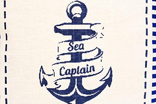 Kissenbezug Raik 40x40cm Kissenhülle maritim Anker Sea Captain Sommer blau weiß gestreift Leinen Leinenoptik Dekokissen -
