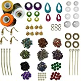 #5: RKB Jewellery making kit 9 different earring bases 3 silk threads 12 color stones(rkb-lpnk-wht-rd)