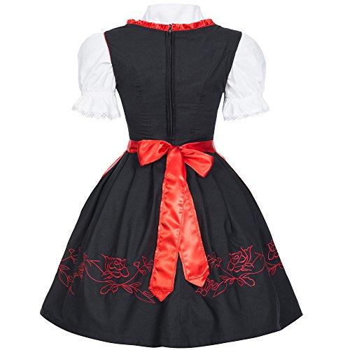 Dirndl Set 4 tlg. Trachtenkleid schwarz mit rot filigraner Stickerei Miederhaken + Dirndlkette mit Herz Anhänger, Marke Gaudi-Leathers Rot