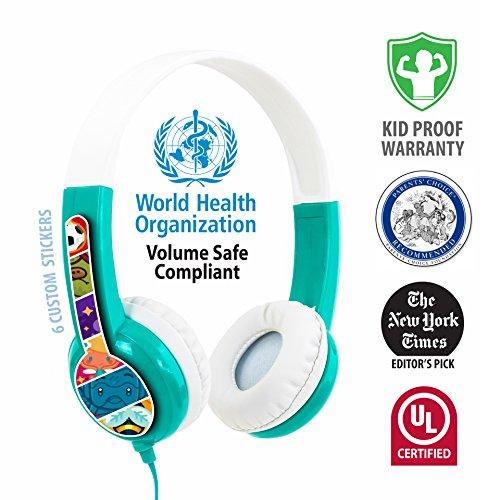 Onanoff buddyphones standard, cuffia cablata per bambini, 0.8 m, verde/bianco